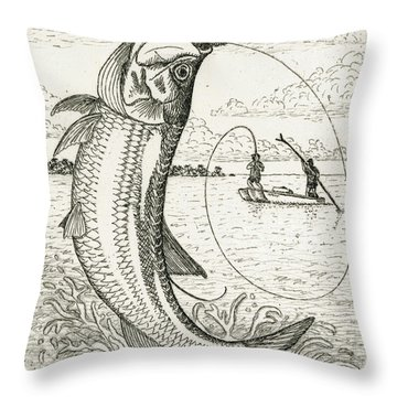 Throw Pillow featuring the drawing Leaping Tarpon by Charles Harden