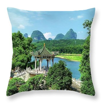 A View In Yangshuo Throw Pillow