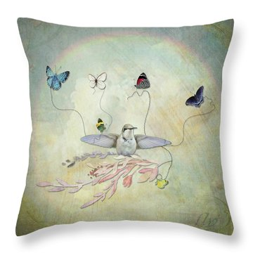 Throw Pillow featuring the digital art Learning To Fly by Sue Collura