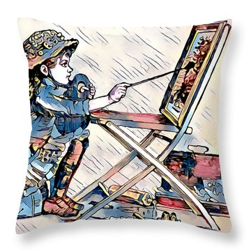 Throw Pillow featuring the digital art Learning To Paint by Pennie McCracken