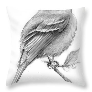 Least Flycatcher Throw Pillow