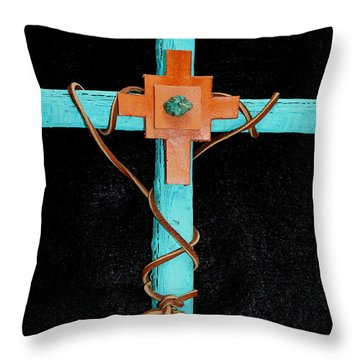 Leather And Stone Cross Throw Pillow by M Diane Bonaparte