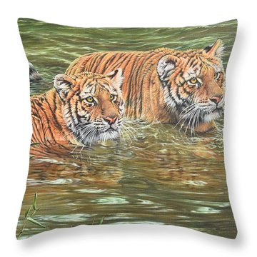 Throw Pillow featuring the painting Leave This To Me Sis by Alan M Hunt