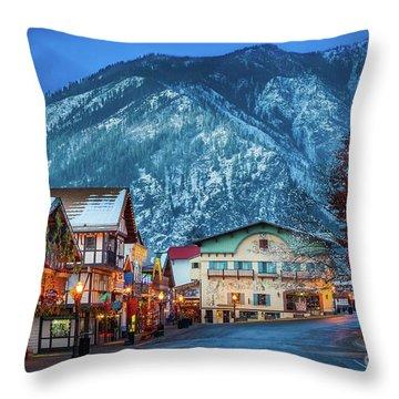 Leavenworth Alpine View Throw Pillow by Inge Johnsson