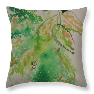 Throw Pillow featuring the drawing Leaves by AJ Brown