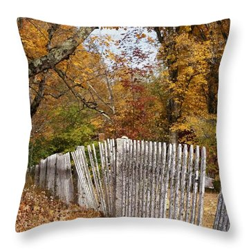 Leaves Along The Fence Throw Pillow