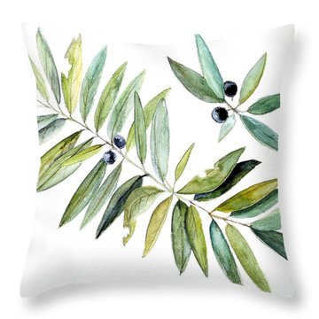 Throw Pillow featuring the painting Leaves And Berries by Laurie Rohner