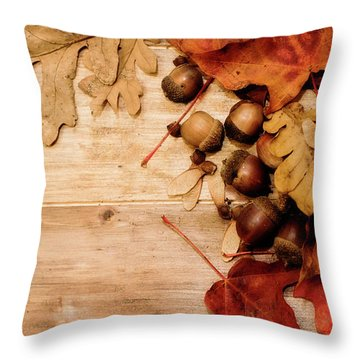 Throw Pillow featuring the photograph Leaves And Nuts 1 by Rebecca Cozart