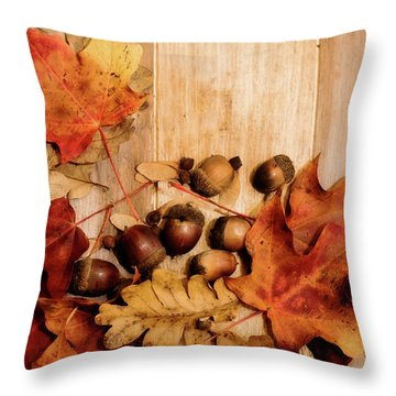 Throw Pillow featuring the photograph Leaves And Nuts 2 by Rebecca Cozart