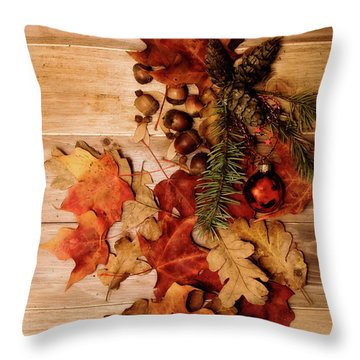 Throw Pillow featuring the photograph Leaves And Nuts And Red Ornament by Rebecca Cozart