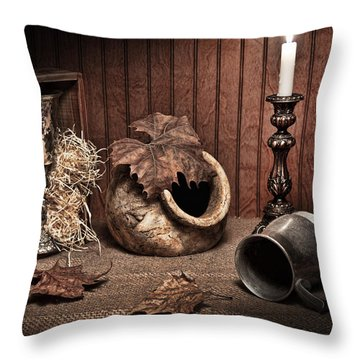 Leaves And Vessels By Candlelight Throw Pillow