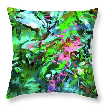 Leaves Buds Green Pink Throw Pillow