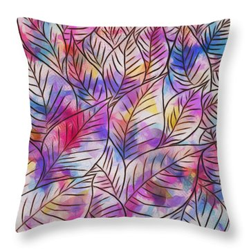 Leaves Colorful Abstract Design Throw Pillow