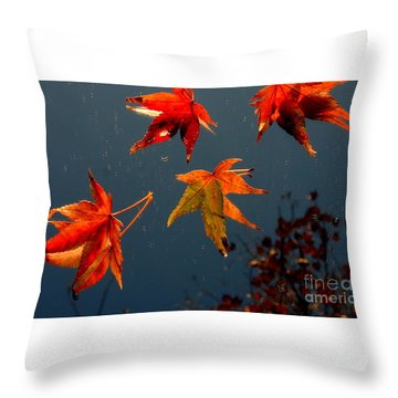 Leaves Falling Down Throw Pillow by Marie Neder