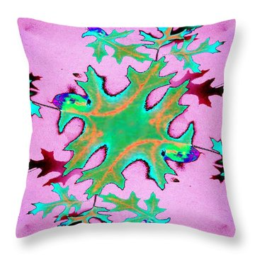Leaves In Fractal Throw Pillow by Tim Allen