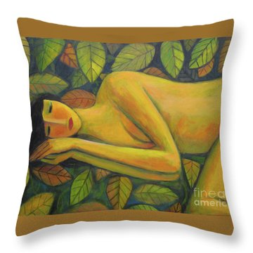 Throw Pillow featuring the painting Leaves Of Absence by Glenn Quist