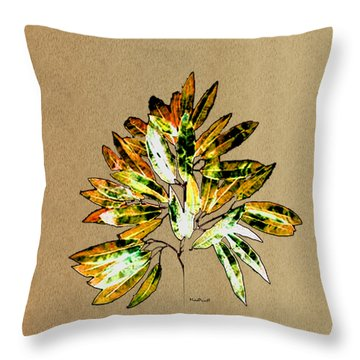 Leaves Of Many Shades Throw Pillow by Asok Mukhopadhyay