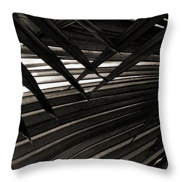 Leaves Of Palm Black And White Throw Pillow by Marilyn Hunt