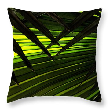 Leaves Of Palm Color Throw Pillow by Marilyn Hunt