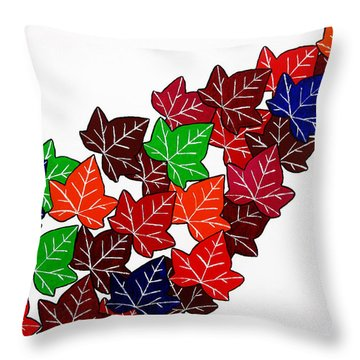 Leaves Throw Pillow by Oliver Johnston