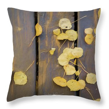 Leaves On Planks Throw Pillow