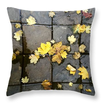 Leaves On Slate Throw Pillow