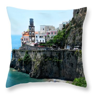 Leaving Atrani  Italy Throw Pillow by Jennie Breeze