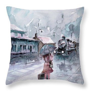 Throw Pillow featuring the painting Leaving... by Faruk Koksal