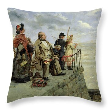 Leaving For Jersey  Throw Pillow by Guillaume Romain Fouace