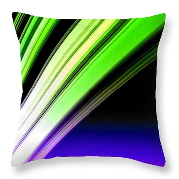 Leaving Saturn In Cobalt And Lime Throw Pillow