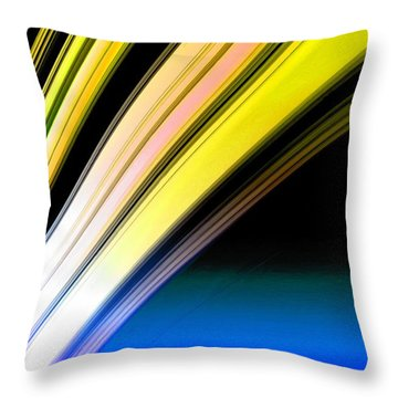 Leaving Saturn In Gold And Blue Throw Pillow