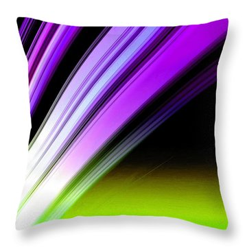 Leaving Saturn In Purple And Electric Green Throw Pillow
