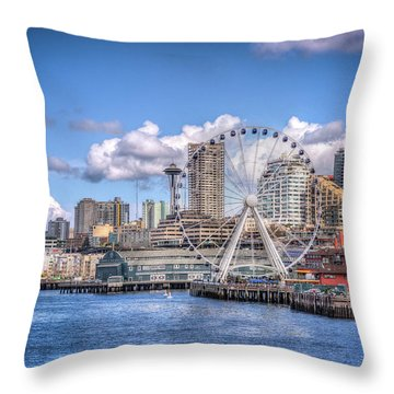 Leaving Seattle Throw Pillow by Spencer McDonald