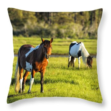 Leaving The Chincoteague Ponies Throw Pillow