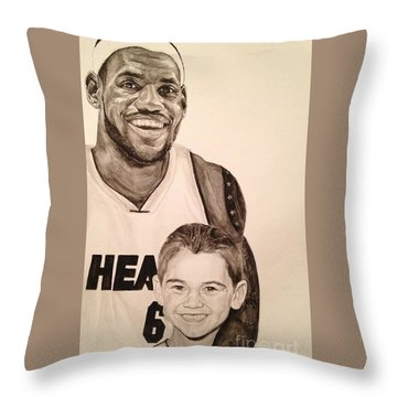 Throw Pillow featuring the painting Lebron And Carter by Tamir Barkan