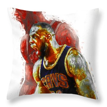Lebron James 23 1 Cleveland Cavs Digital Painting Throw Pillow