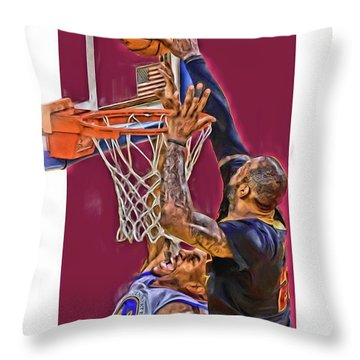 Lebron James Cleveland Cavaliers Oil Art Throw Pillow by Joe Hamilton