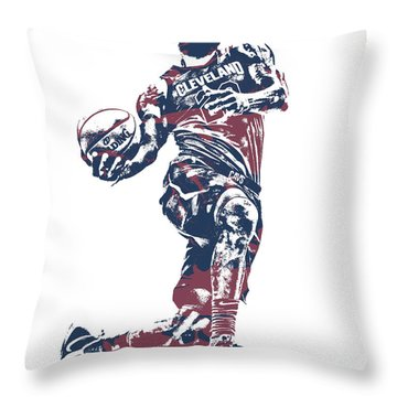 Lebron James Cleveland Cavaliers Pixel Art 52 Throw Pillow