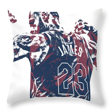 Lebron James Cleveland Cavaliers Pixel Art 53 Throw Pillow