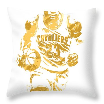Lebron James Cleveland Cavaliers Pixel Art 7 Throw Pillow by Joe Hamilton