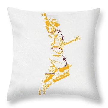 Lebron James Cleveland Cavaliers Pixel Art Throw Pillow by Joe Hamilton