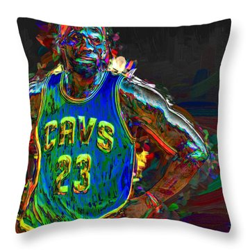 Lebron James Painted Throw Pillow