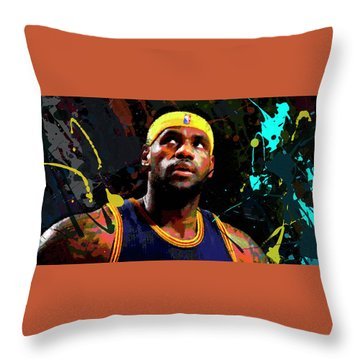 Throw Pillow featuring the painting Lebron by Richard Day