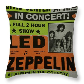 Led Zeppelin Live In Concert At The Baltimore Civic Center Poster Throw Pillow