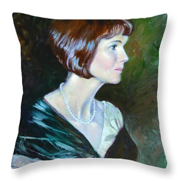 Ledy In Green Throw Pillow