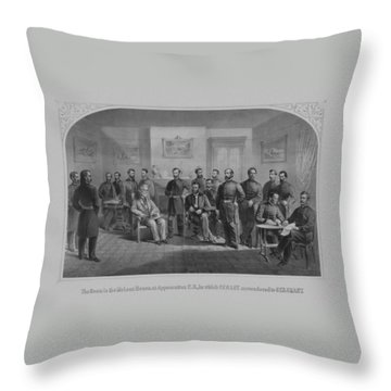 Lee Surrendering To Grant At Appomattox Throw Pillow