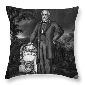 Lee Visits The Grave Of Stonewall Jackson Throw Pillow