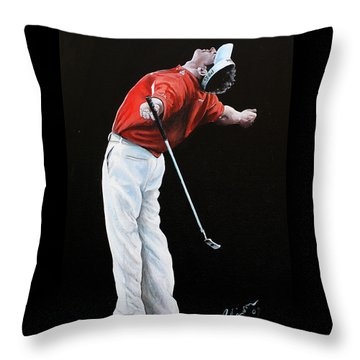 Lee Westwood Throw Pillow by Mark Robinson