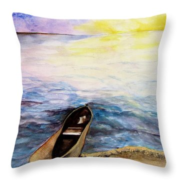 Throw Pillow featuring the painting Left Alone by Lil Taylor
