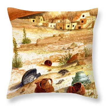 Throw Pillow featuring the painting Left Behind - Indian Pottery by Marilyn Smith